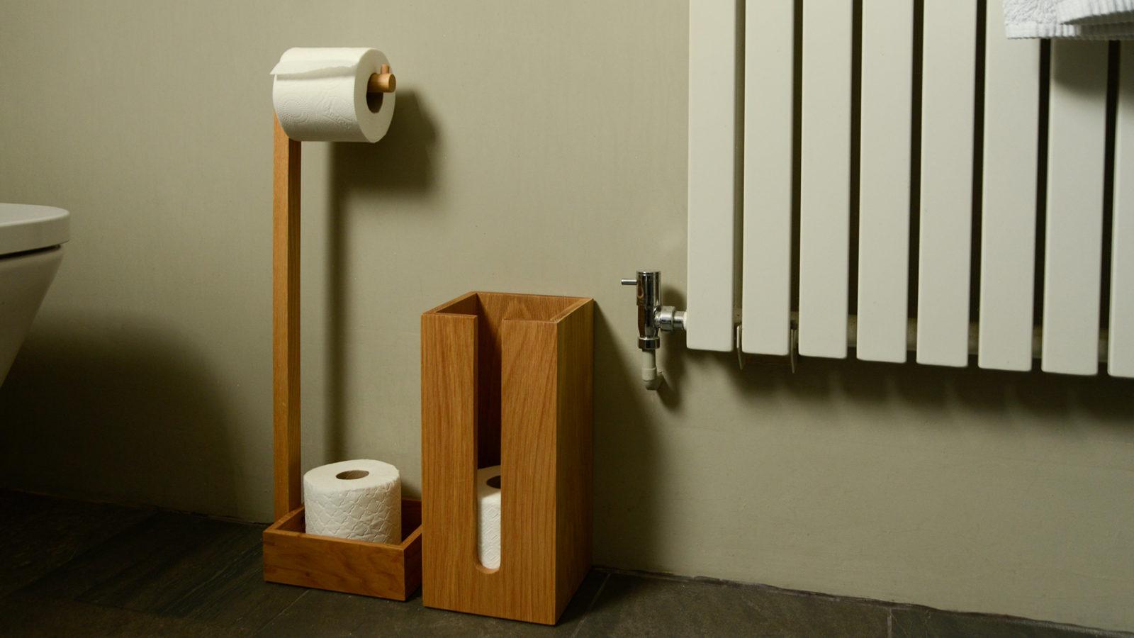 oak storage for toilet rolls