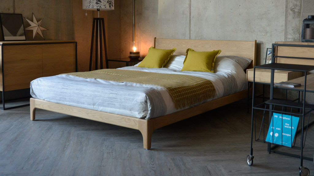 Exclusive low oak Carnaby bed, designed and hand crafted by us in Sheffield.