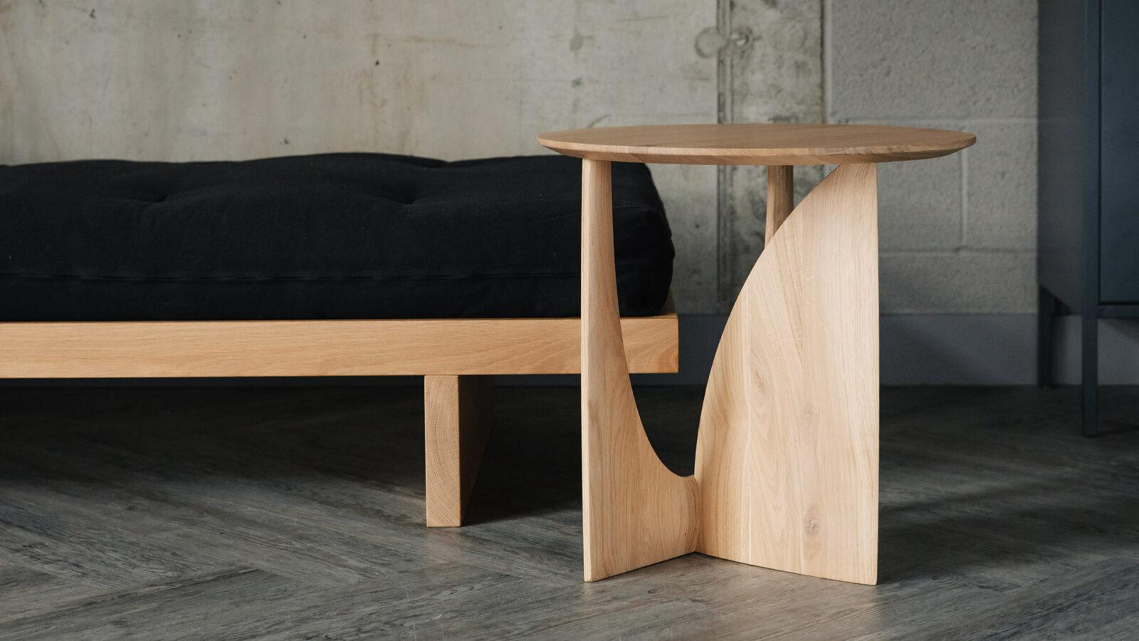 Geometric Oak frame side table