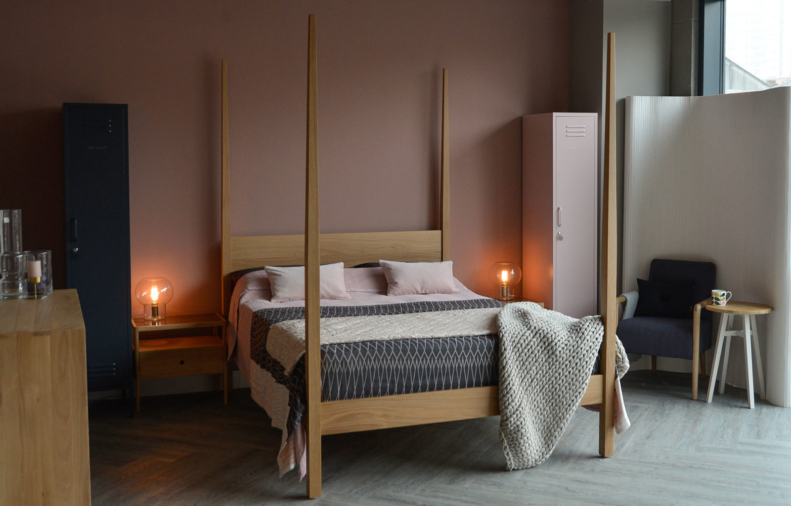 Hatfield tall 4 post wooden bed made in UK from sustainably sourced wood.