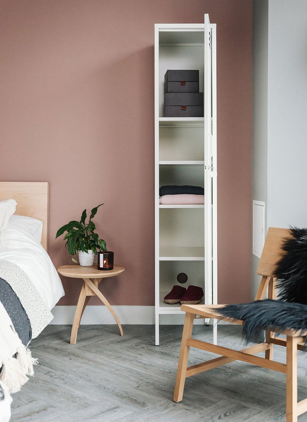 Twist small oak bedside table with open storage locker in white