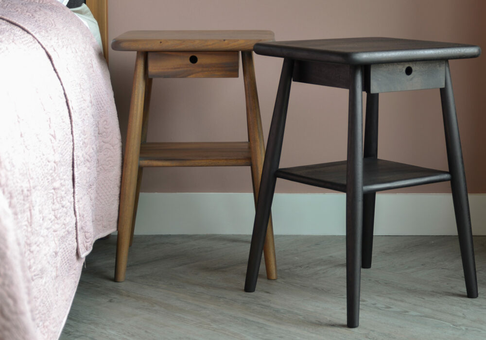 Oiled Indonesian Hardwood Side Tables - mid century look