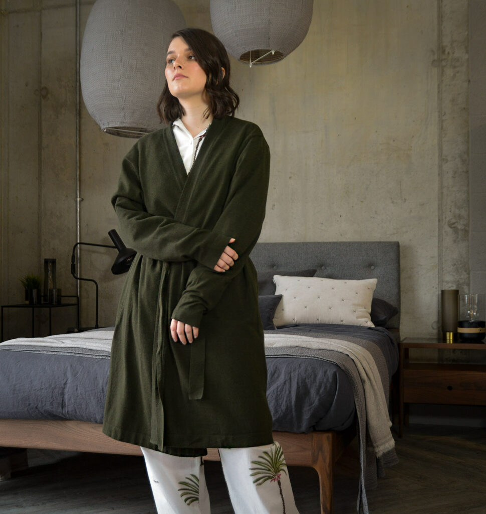 olive green cosy knitted robe
