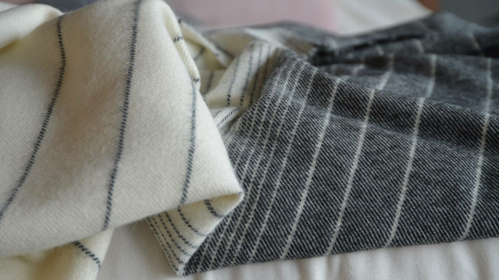 charcoal and ivory stripe alpaca and merino wool throw