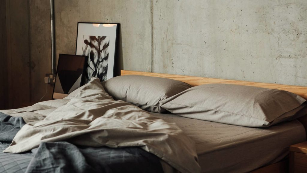 organic bedding in grey marl cotton, duvet cover, sheets and pillowcases.