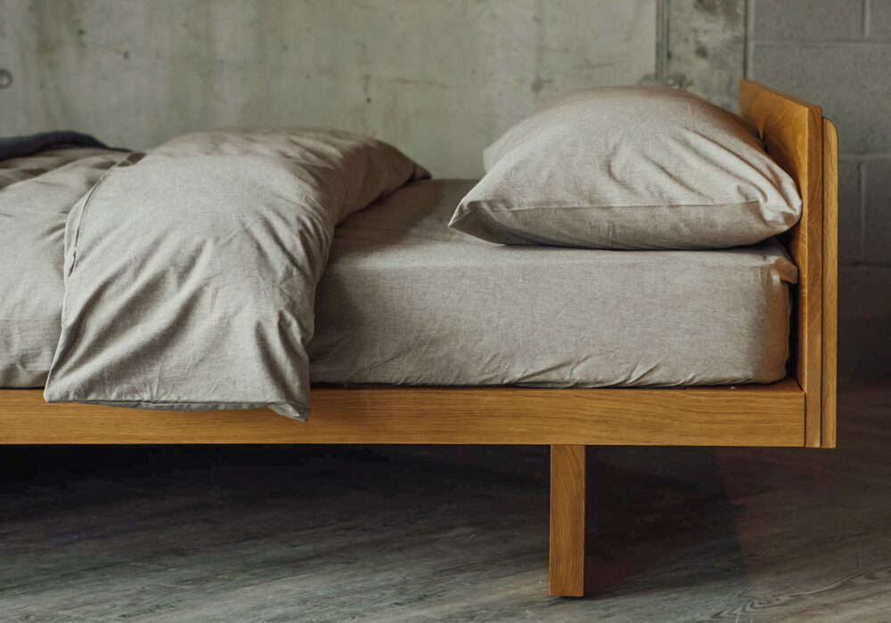 Kyoto a solid wood, low, hand-made bed frame available in a choice of wood.