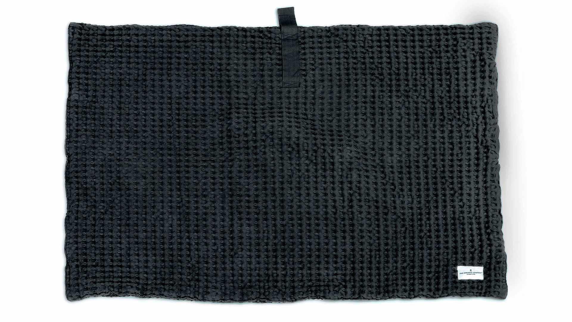 organic cotton waffle weave bath mat - grey