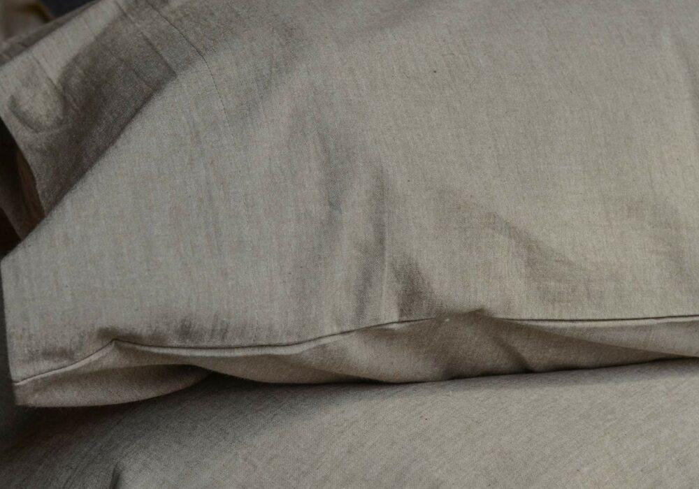 certified organic cotton bedding in brown melange