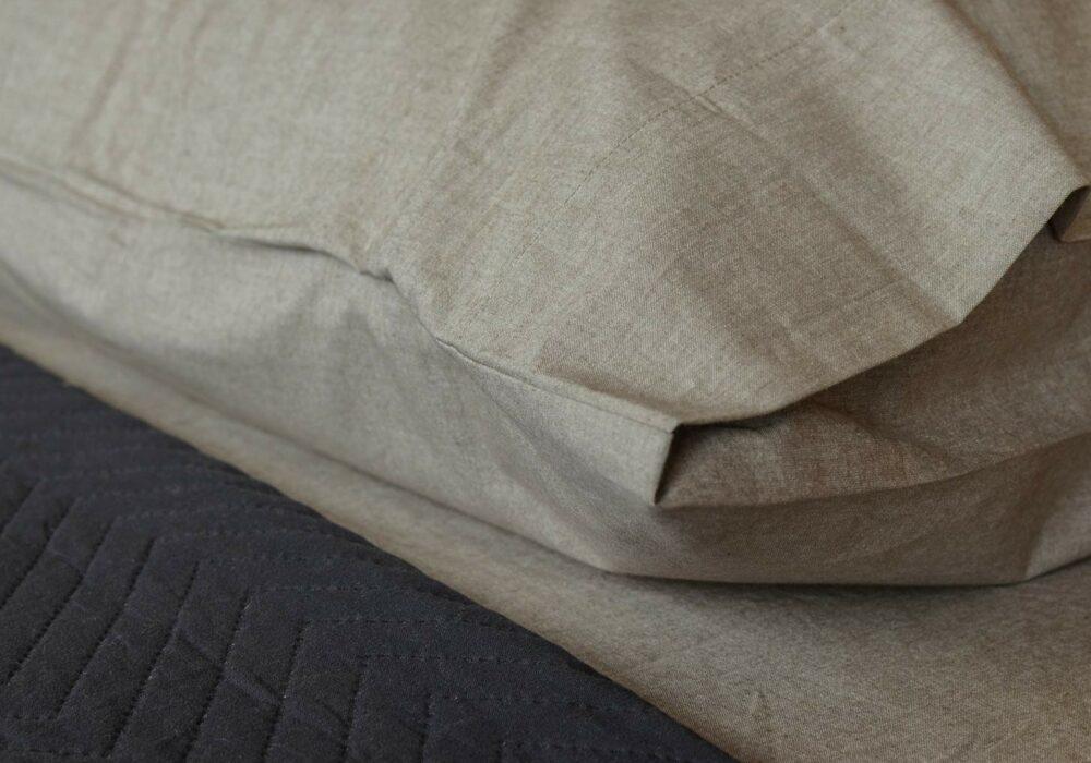 organic cotton pillowcase and bedding in brown melange