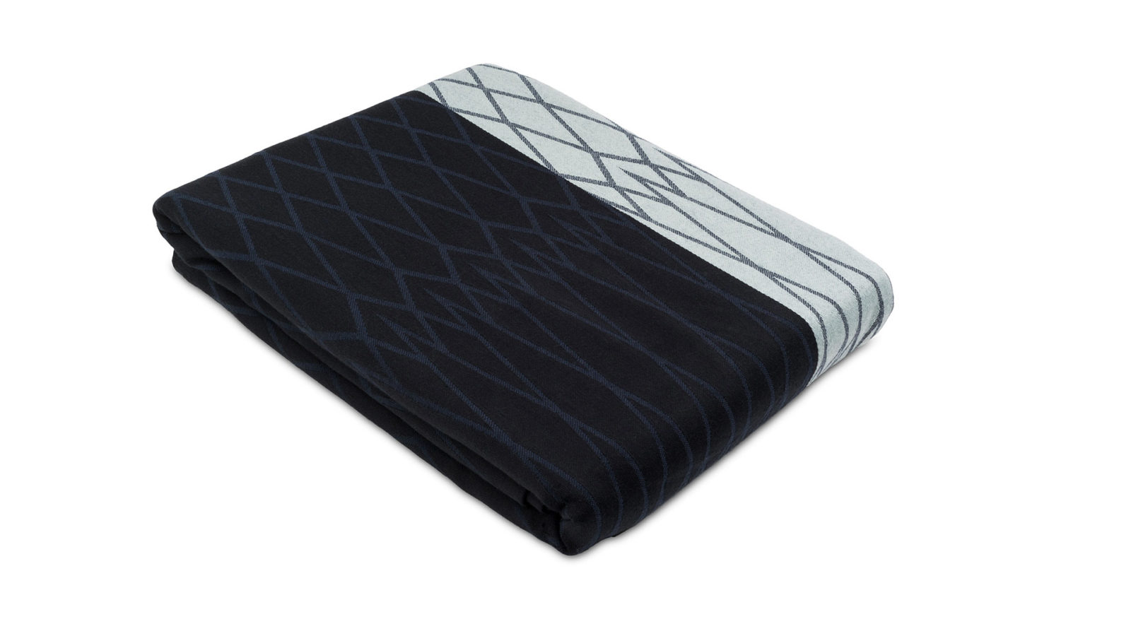 100% organic cotton bedspread in navy and aqua woven pattern