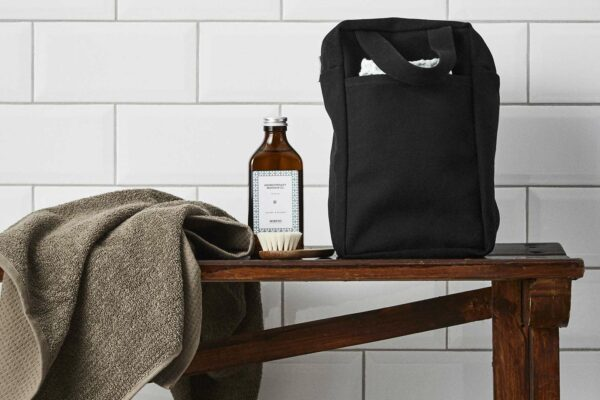 organic cotton canvas small bag in black