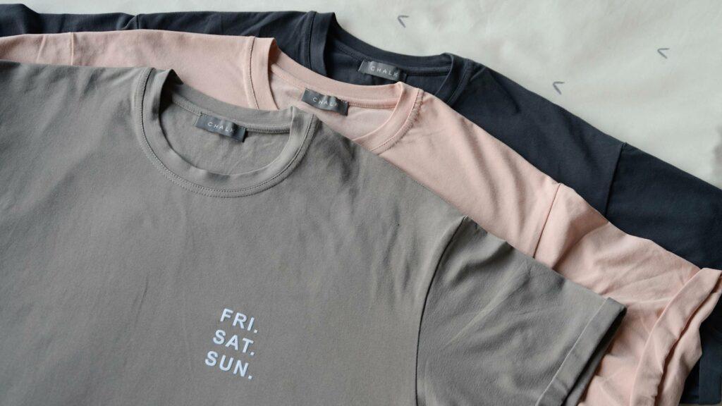 organic cotton t-shirts grey pink charcoal