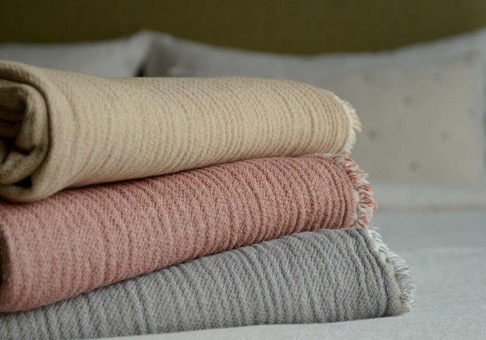 textured organic cotton throws
