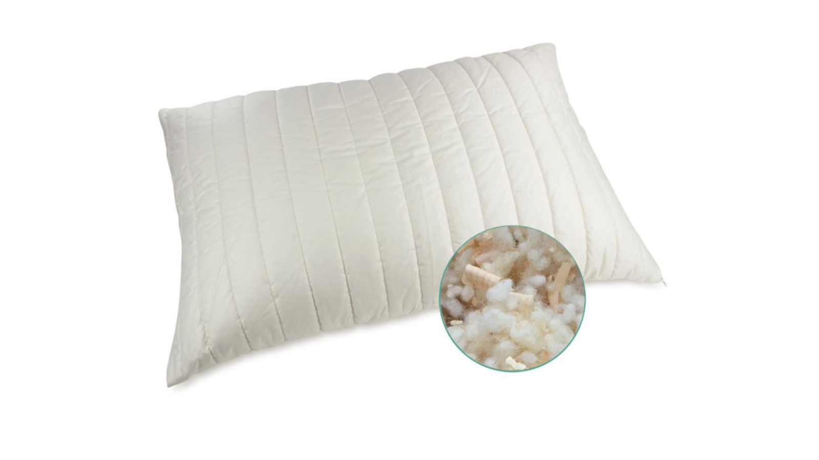 organic cotton pillow filled with organic wool and soothing Pine shavings