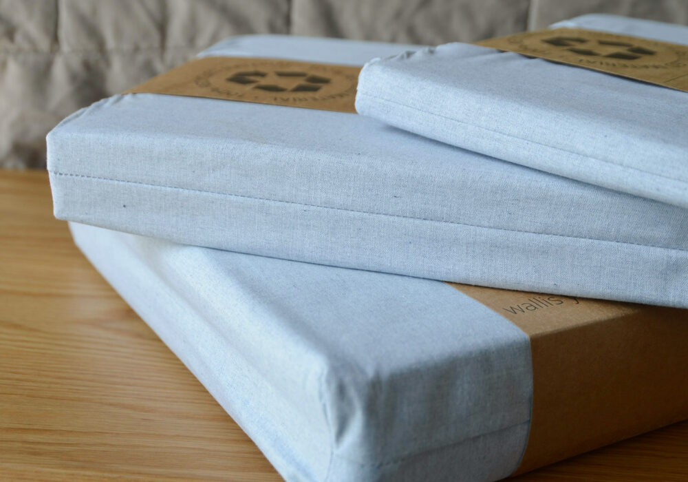 pale blue bedding made from 100% recycled denim