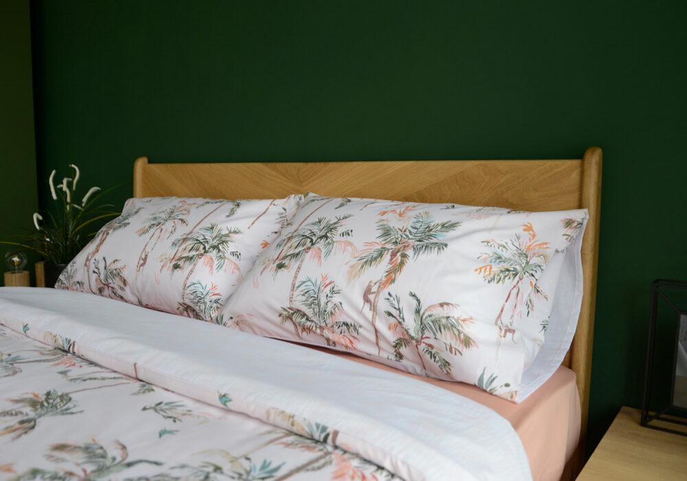 blush pink duvet set with palm tree print