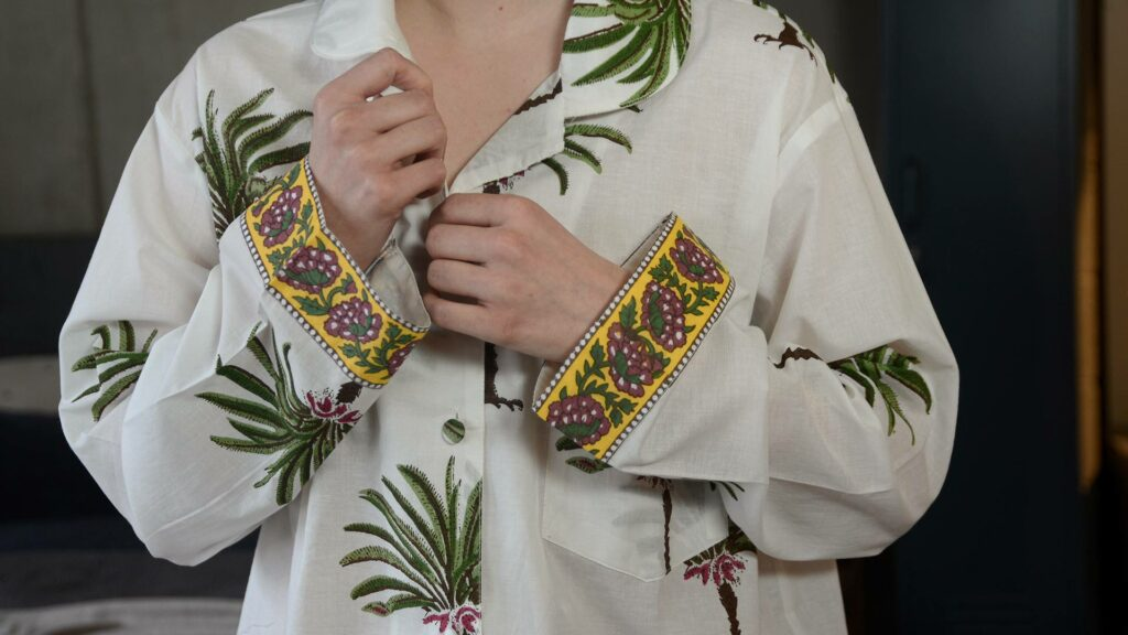 palm tree print light cotton pjs showing cuff print detail