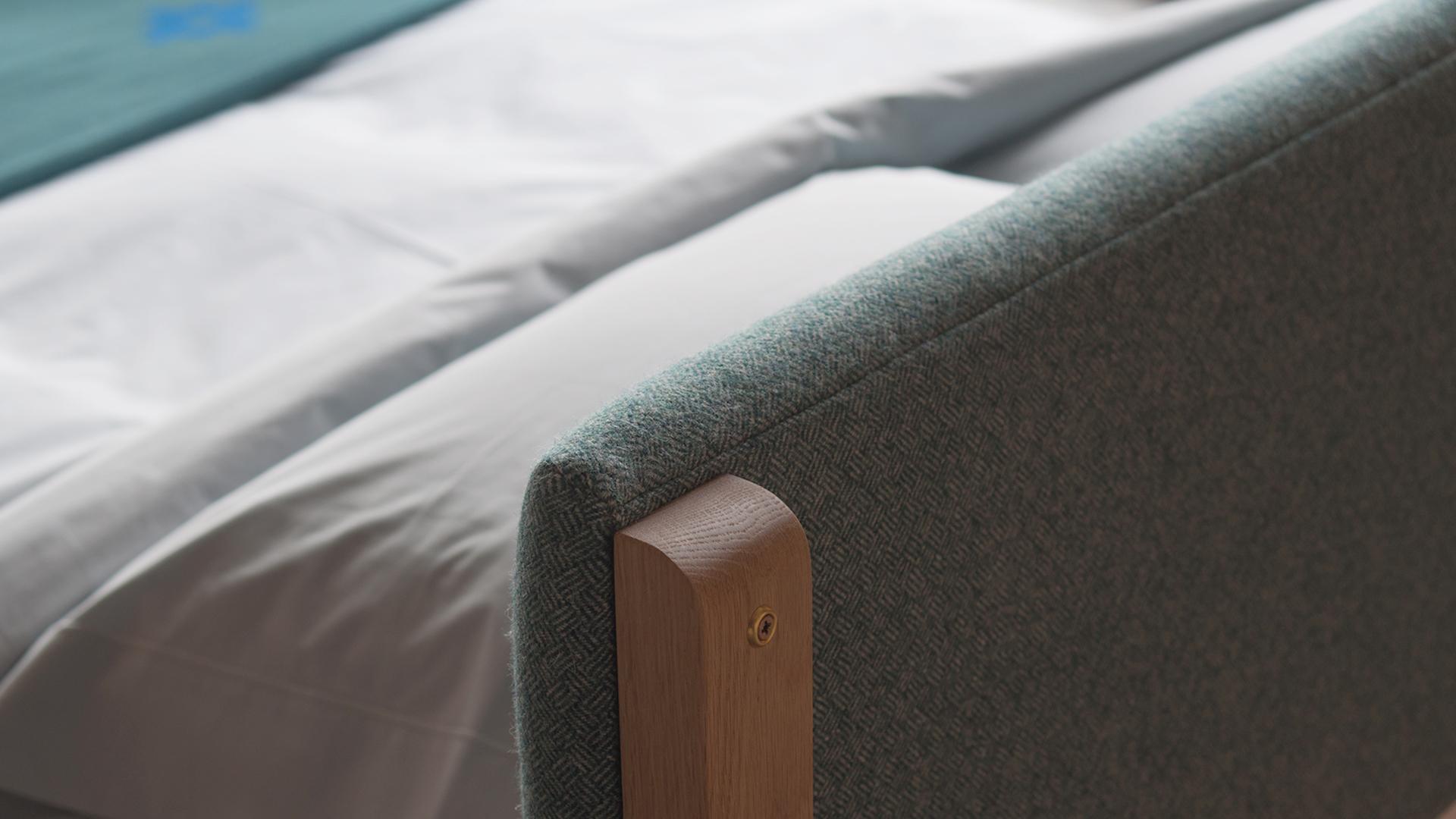 pure wool upholstered headboard back detail