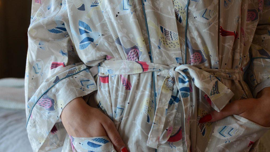 Pastel Bird Pattern Kimono
