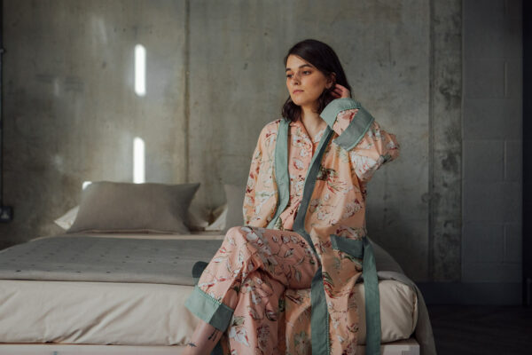 pastel colours floral cotton pj set with matching robe