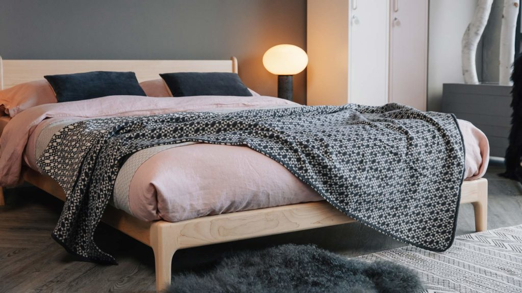 Modern solid wooden low bed the Pimlico