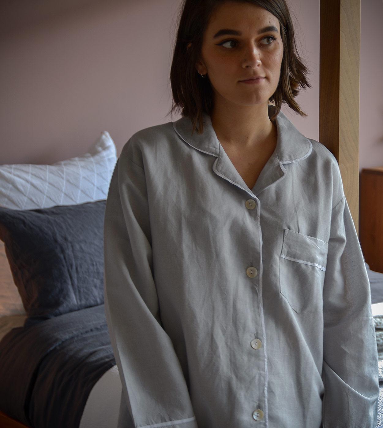 linen blend pyjama top