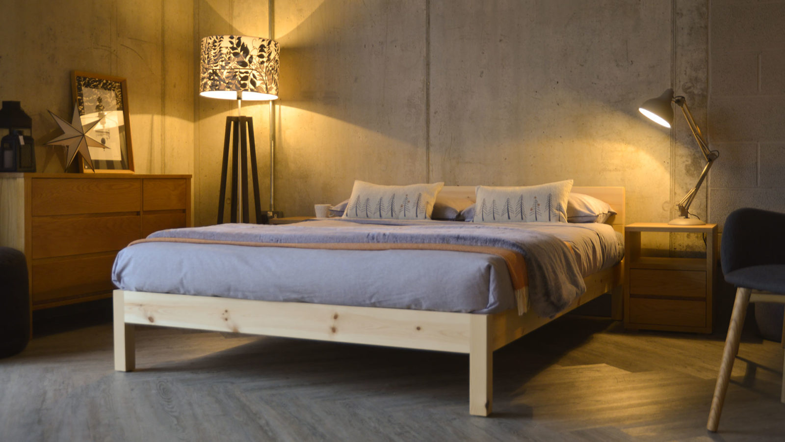 Nevada contemporary wooden bed in Pine