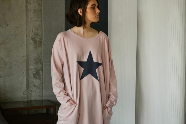cotton rich jersey dress with long sleeves