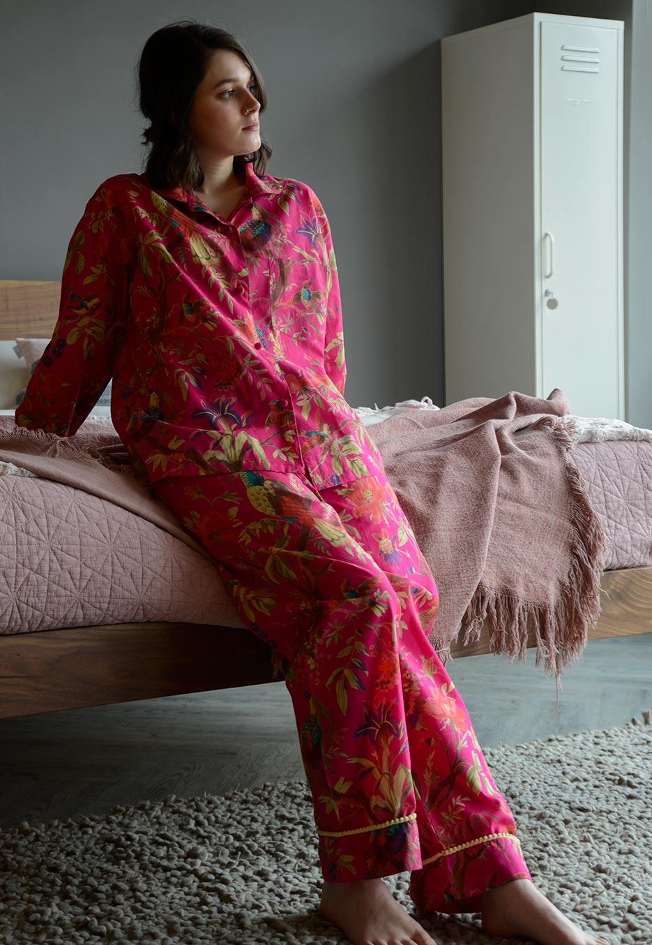 bright pink birds and flowers print light cotton pyjamas