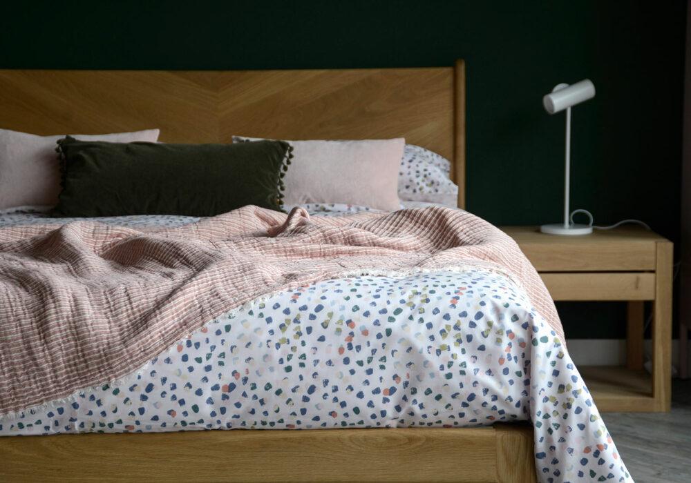 cotton blend duvet cover set with pastel colours paint brush dots pattern