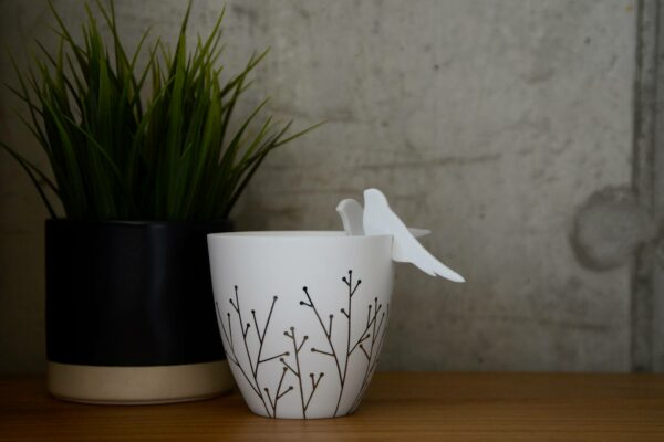 Porcelain Candle Holder with silver stems pattern and birds