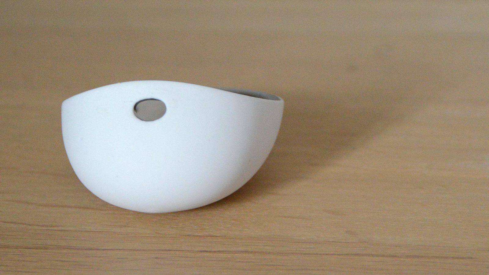 modern matt white porcelain dish shown from the rear