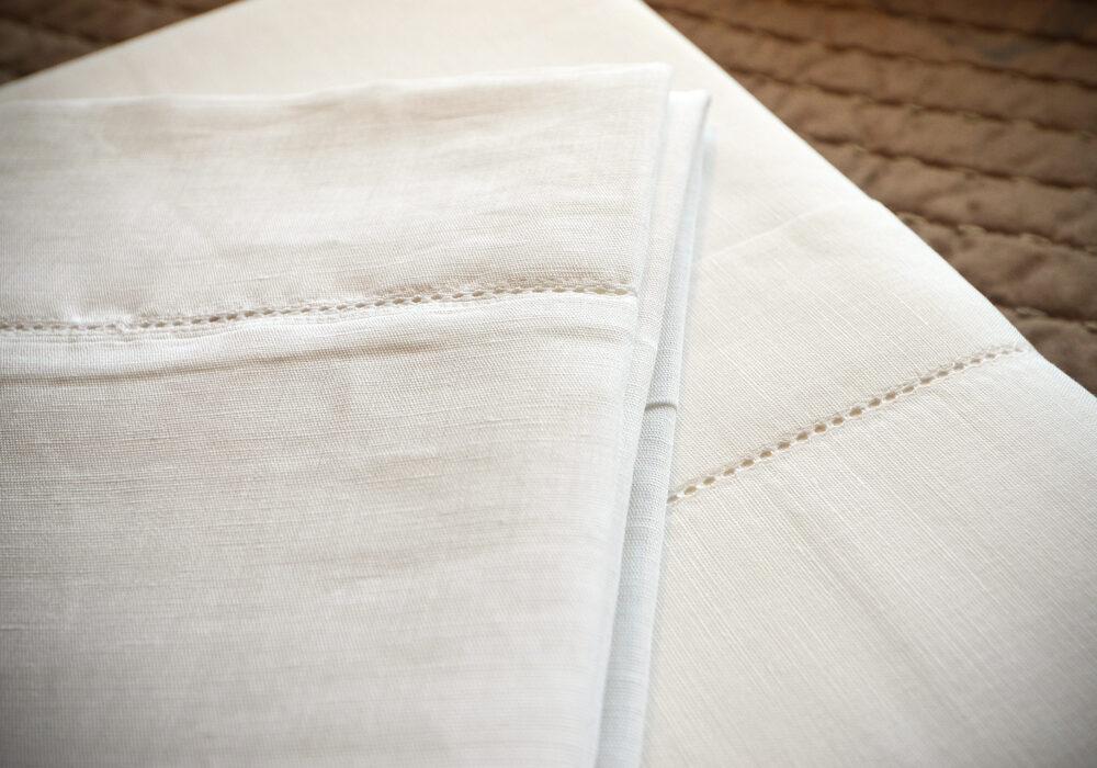 portofino linen mix bedding with hemstitch detail