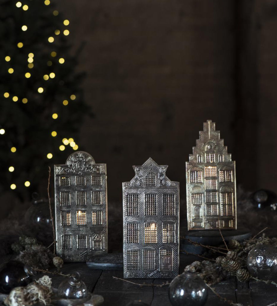 Metal house shaped candle holders