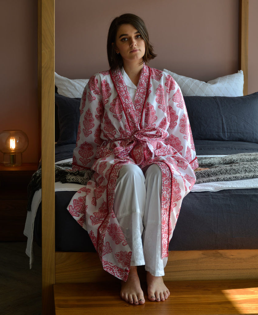 block print effect cotton robe in pink and white