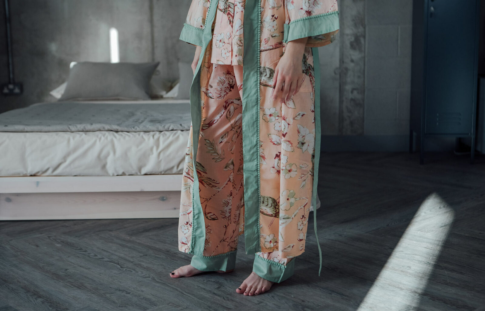 pastel colours floral cotton pyjama set with matching robe a view of the edging details