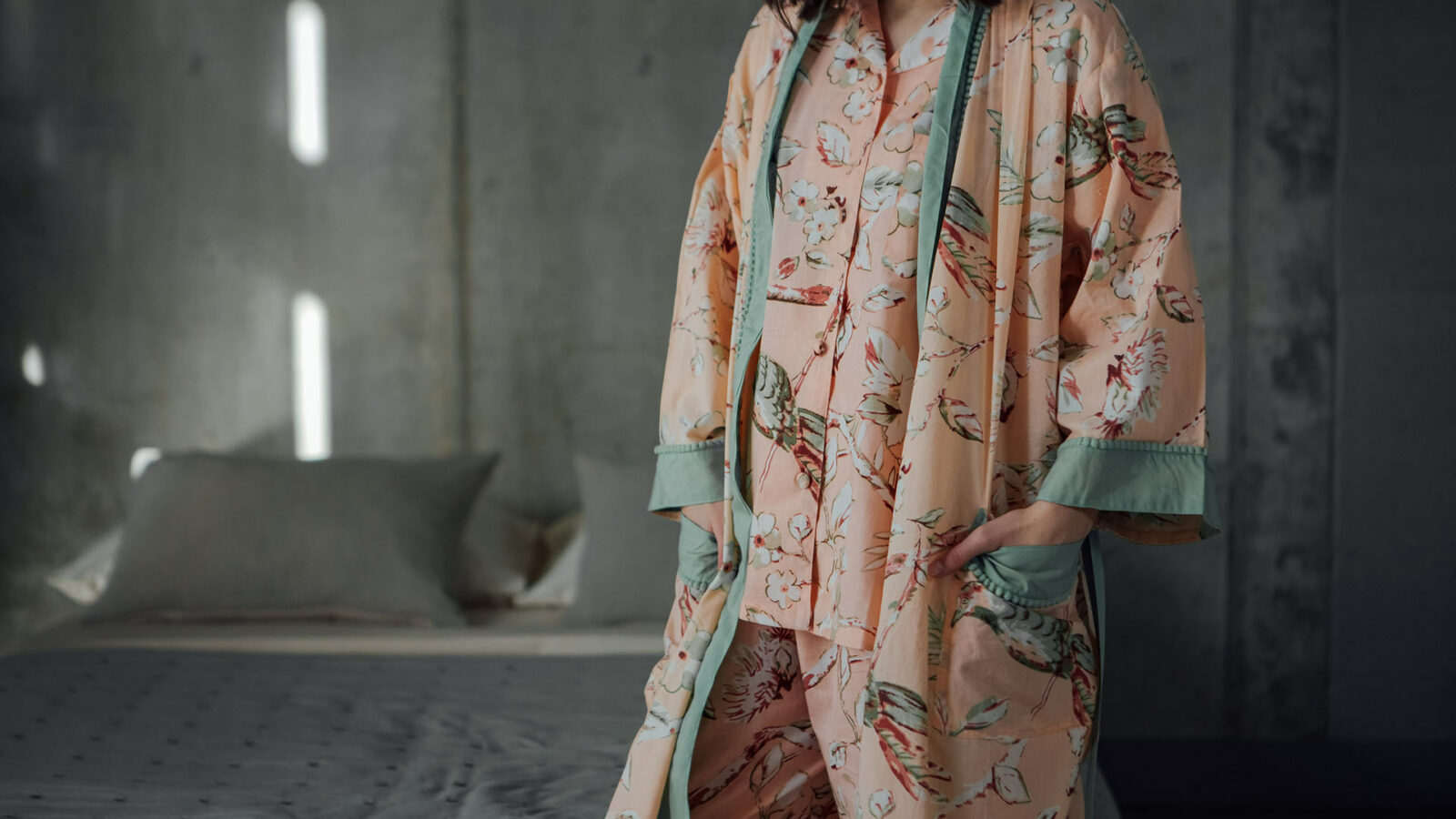 pastel colours floral cotton pyjama set with matching robe