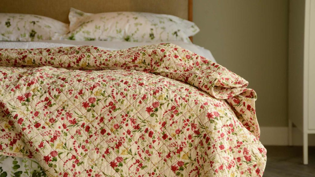 red floral quilted blanket