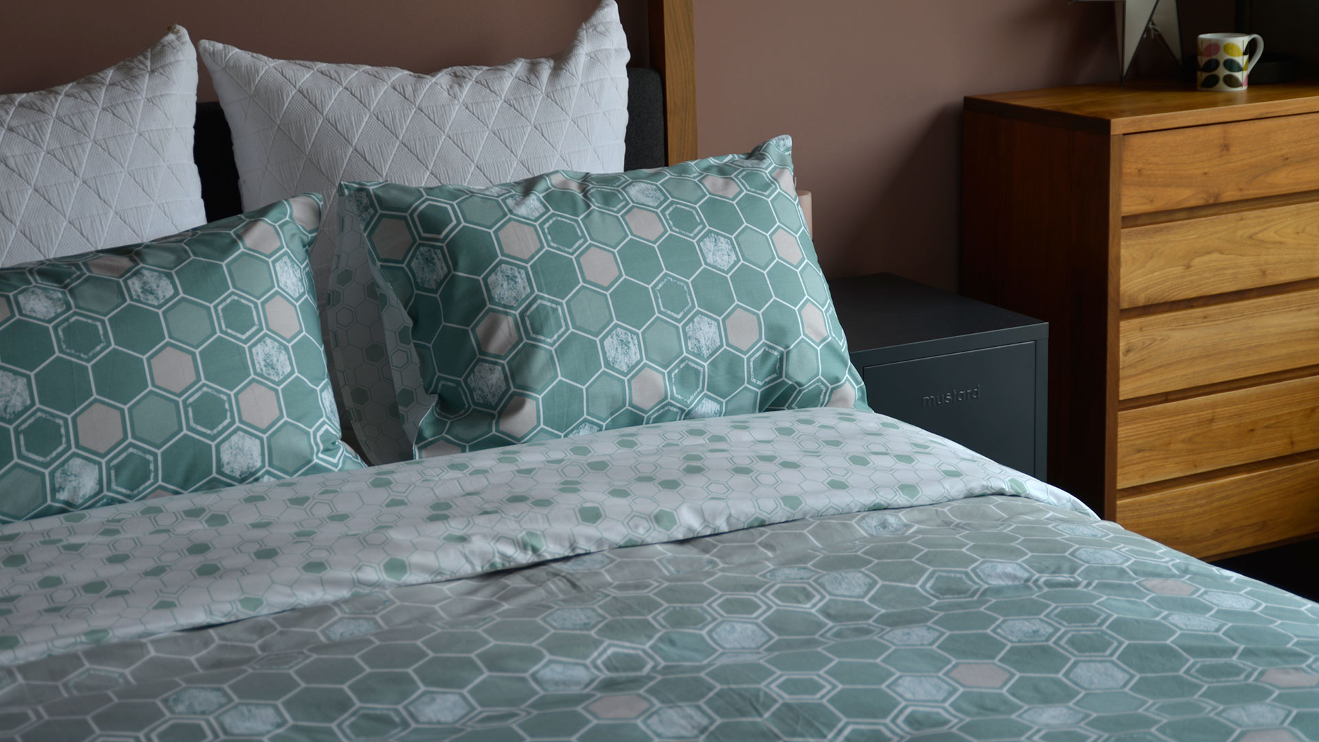 Honeycomb Duvet Set Sage Stone Natural Bed Company