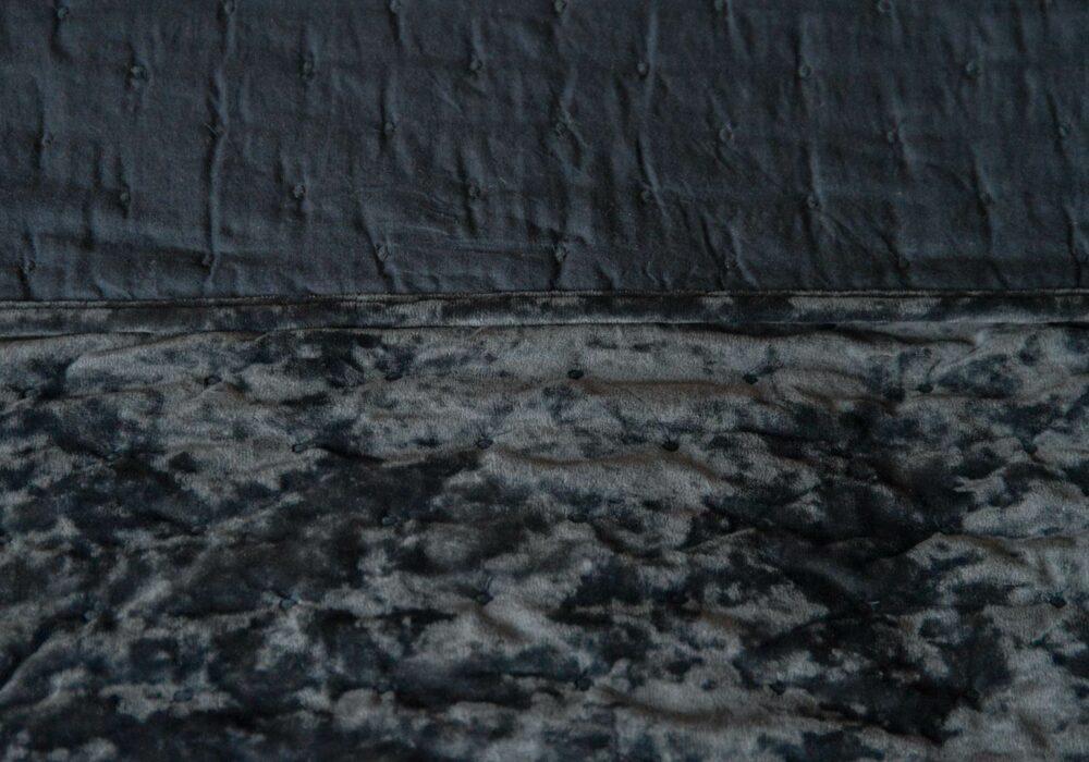 inky grey crushed velvet bedspread