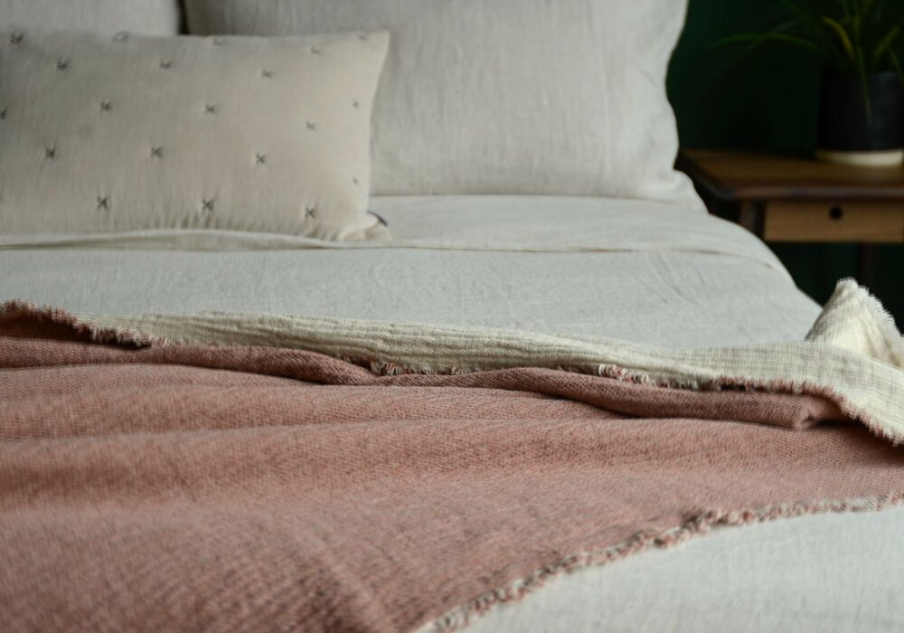 organic cotton textured bed throw