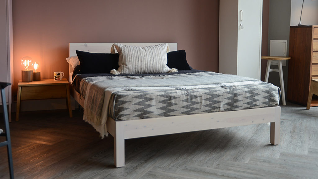 Sahara contemporary low headboard bed in white wash pine