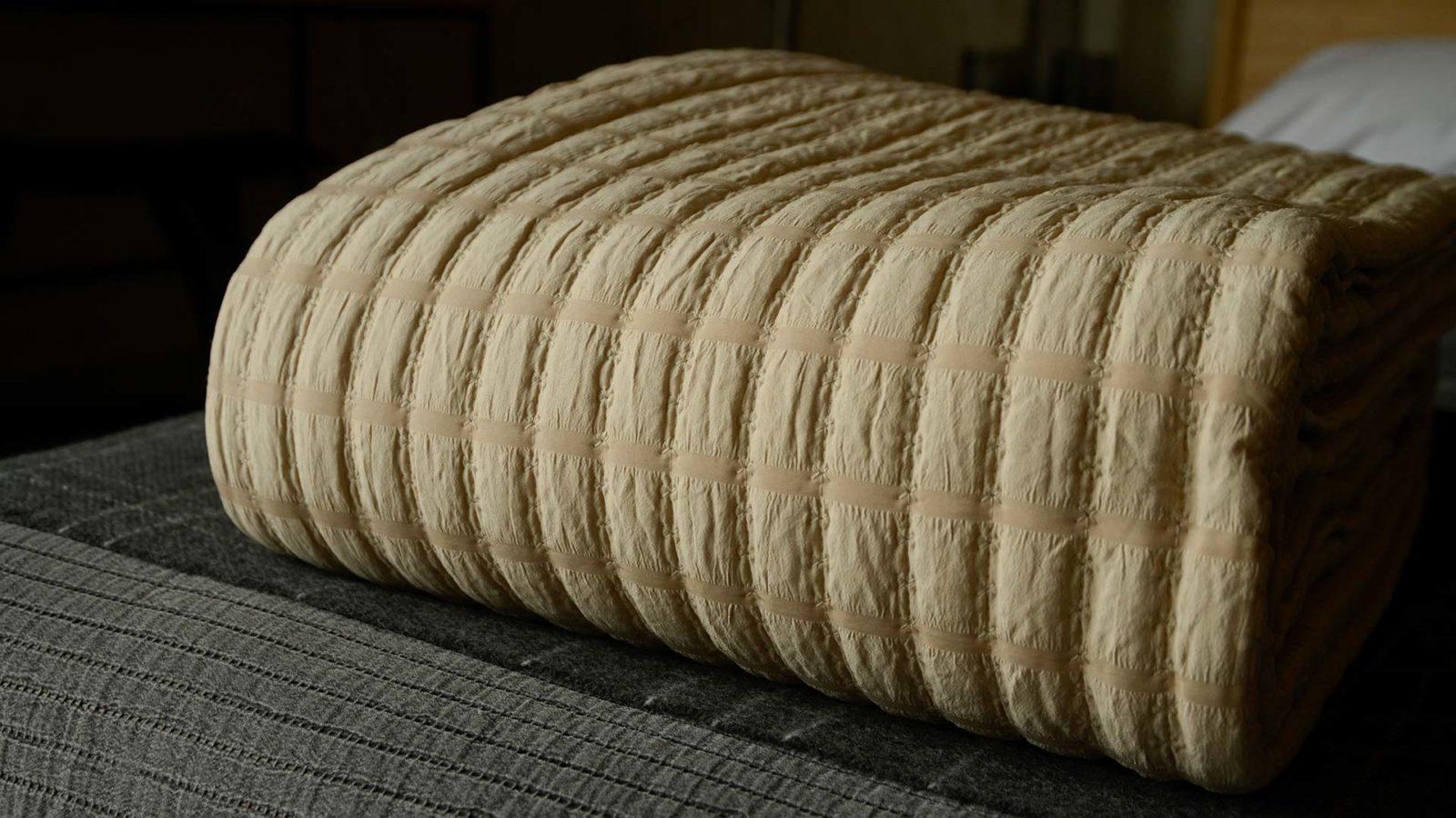 warm beige bedspread
