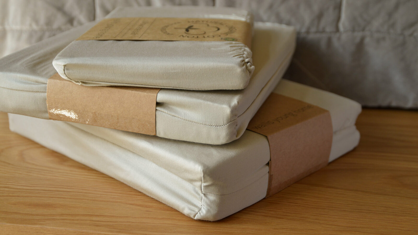 natural organic cotton bedding 300 thread count in stone colour