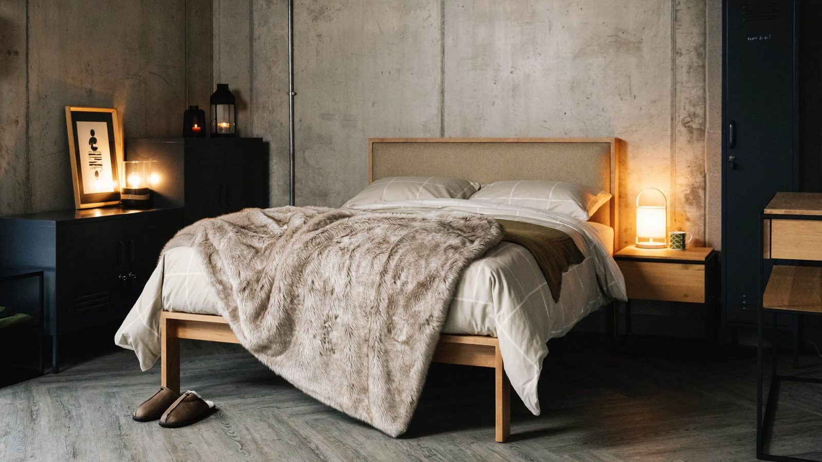 Brushed cotton bedding on Shetland contemporary solid wood taller bed