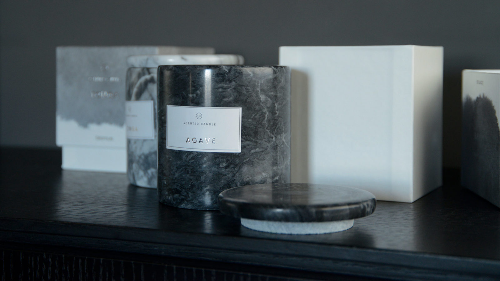 grey marble holders for scented candles