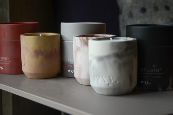 scented candles in concrete pots 3 scents and 3 colour ways, come with gift boxes