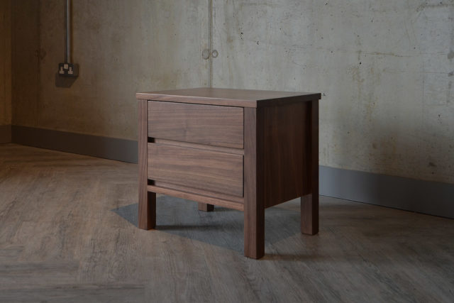 Shaker style bedside unit in solid walnut from Natural Bed Company