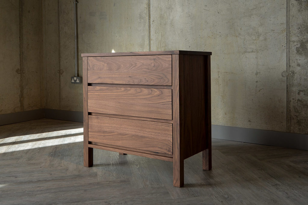 Walnut 3-Drawer Chest. Three drawer chest in solid walnut from Natural Bed Company