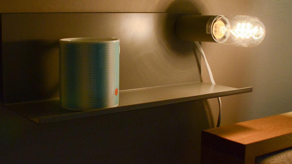 Bedside Shelf Lamp - mid grey